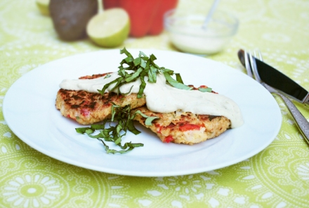 Turnip Quinoa Cakes with Avocado Crema